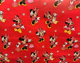 Disney red Minnie Mouse fabric, Disney fabric, Minnie fabric, kids fabric, cartoon fabric, cotton fabric