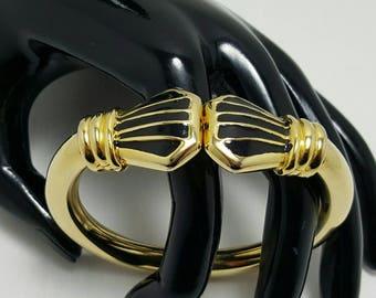 Gold Tone Hinged Bangle Bracelet
