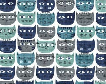 Blue Cat Quilt Fabric, Cotton Sewing Fabric - Sassy Cats Fabric Line by Michael Miller Collection in Geometric