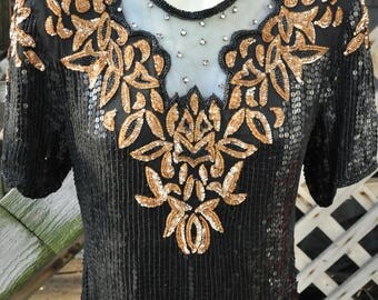 Vintage 1980s Sequin Blouse/ Top  By Stenay  Glamour Sequins