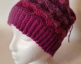 Child Size Messy Bun Beanie Hat convertible Cowl in Petunia