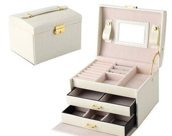 White PU Leather Jewelry Box Organizer Rings Necklace Storage Container (1pc) w/ Free Shipping