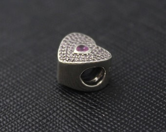 New Authentic Pandora Charm Bead Pink Pave SweetHeart Heart 791555CZS