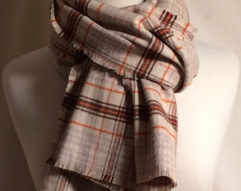 Plaid Flannel Scarf Fringe Christmas Fall Gift for Her Scarfs Scarves Orange Brown