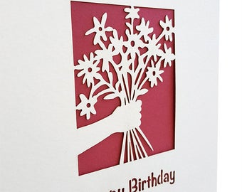 Happy Birthday papercut Cards Set of 5, Judaica Papercut Greeting, Blank Inside, Gift, her birthday, birthday idea, David Fisher