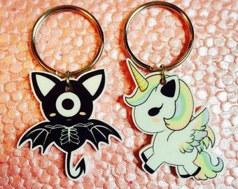 Unicorn and Cyclops Bat Key Chains