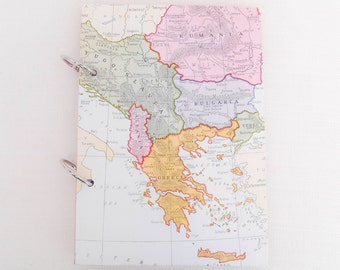 "Handmade Travel Journal Containing a Mixture of Paper ""Eastern Europe"" - Ring Bound 7.5"" x 5.25"" - Junk Journal, Smash Book, Scrapbook"