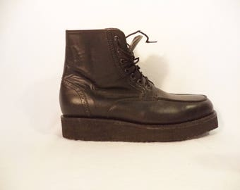90s goth platform boots// Black leather grunge creeper combat lace up// Vintage made in Mexico// Men's size 9 Mex 10.5 USA