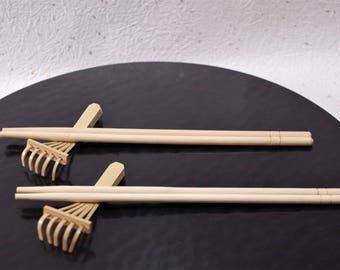 Chopstick rest  made by bamboo Traditional crafts of Japan. Design is the rake. unused. SHIPPING   FREE!