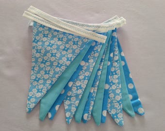 Bunting, double sided, turquoise