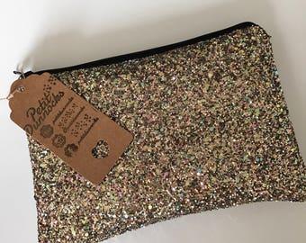 Vintage gold glitter clutch  bag, Glitter clutch bag, evening clutch bag, wedding clutch bag, prom clutch bag