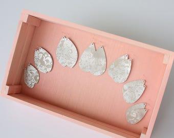 leather earrings, paisley suede, suede earrings