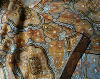 vintage 1960s Silk Scarf designer Echo scarf Brown Chiffon Wrap Medallion Paisley Pattern Asia India pattern authentic Print Neck Foulard