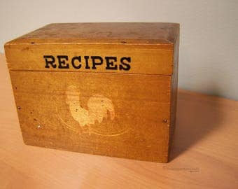 Vintage Wood Recipe Box with Rooster Design, made in Japan – Farmhouse Kitchen Recipe Box