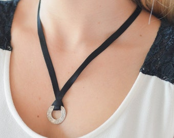 Silk and silver pendant necklace