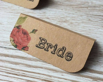 Rustic Themed Vintage Floral Place Cards Sample