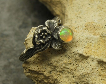 Opal Silver Ring, Ethiopian Opal Orchid Sterling Silver Ring, Opal Cabochon