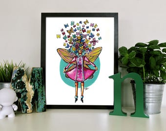 Limited Edition Butterfly Girl Art Print