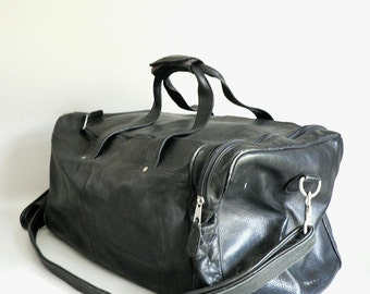 Large Black Leather Duffel Bag