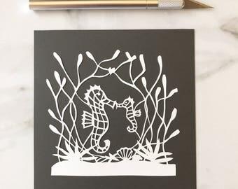 Original Papercut Seahorse
