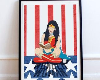 Wonder Woman Inspired poster print - Superhero day off. Unique hero poster illustration. fan art, American, USA flag