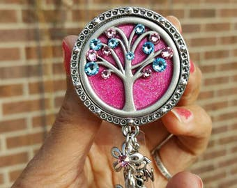 Labor and Delivery badge reel. Custom Tree of Life:  hot pink, light blue and pink flower charms. Card holder. L&D, OB nurse ID badge