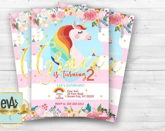 Unicorn Birthday Invitation/ Unicorn Themed Party/ Unicorn Party Supplies