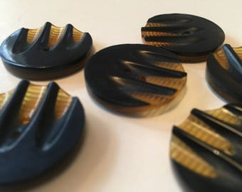 Art deco bakelite buttons layered carved amber applejuice black