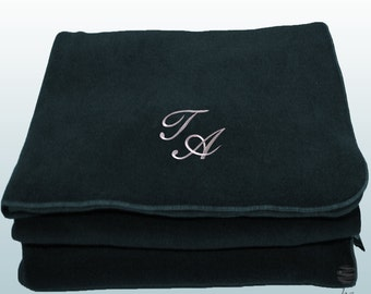 Personalized Custom Embroidery Monogram Polar Sofa Bed Travel Fleece Embroidered Blanket - Blue