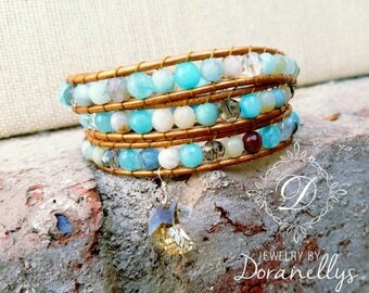 Bracelet, boho,  leather wrap,  blue, faceted gemstones,Jade, aquamarine, agate, angelite, Crystals, Sterling silver,  boho style, moon,