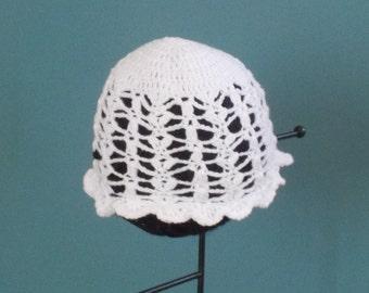 Newborn Cotton Bonnet/ White Crocheted Hat/ Baby Girl Easter Hat/Crochet Lace Cap