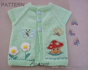 Pattern baby cardigan/Knitted baby cardigan/knit baby vest/pattern baby vest/ Clothing pattern.Pattern PDF