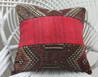 Patchwork kilim pillow 16x16 pillow cover coussin kilim embroidery pillow pink color 16x16 decorative pillows for couch pillows covers 2185