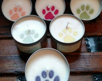 Paw print candle