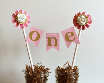 Smash Cake Topper | Pink and Gold Princess First Birthday Party | Pink Gold White