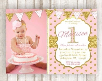 Pink and Gold First Birthday Invitation Pink and Gold Birthday Invite Printable Invite 1st Birthday Invite Gold Glitter Invitation BRPG11