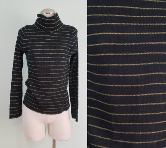1970s Black and Gold Turtleneck Top / Funnel Neck Knit Shirt / Lightweight, Striped Sweater / Modern Size Small S to Medium M