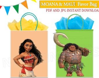 Moana Favor Bags/ Maui Favor Bag/  Moana Printables/ Moana party bag/ Maui/ Instant Download/ Moana & Maui/ You Print 60%OFF