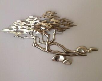 Bijan Brass Tree of Life Bonsai Cypress Tree Wall Sculpture 1980 Signed Excellent