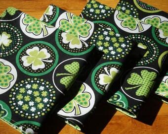 Shamrock Cloth Napkins, St. Patricks Day, Shamrocks, Large Reversible, Set of 4, Green and White, Large Patterned Shamrocks, Irish Napkins,