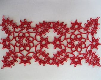 Handmade Red Tatted Lace Doily Runner