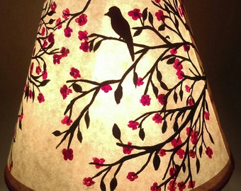 "4"" x 5"" hand painted lamp shade. Cherry tree, blossoms and birds"
