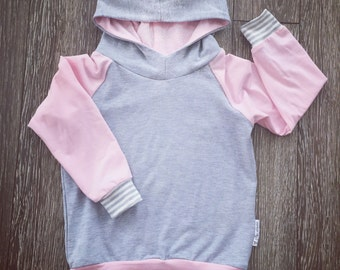 Hoodie for baby and child, pale pink, pale grey bamboo and scratches