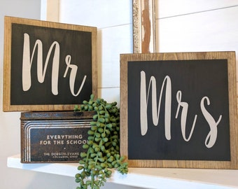 Rustic farmhouse inspired Mr and Mrs sign SET