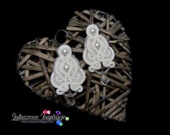WEDDING EARRIGNS. Long chandelier White soutache EARRINGS Swarovski Crystal Bridal earrings. Wedding jewelry