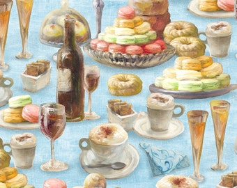 NEW! Le Cafe' - Per Yd - Wilmington Prints -  Danhui Nai - Pastry on Blue