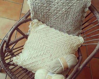Wool crochet lace effect cushion / / interior design / / handmade.