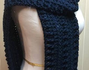 Dark Blue Crochet Scarf, Wide Scarf, Navy Blue Scarf, Chunky Scarf, Open End Scarf, Blue Crochet Scarf, Crocheted Scarf, Winter Scarf