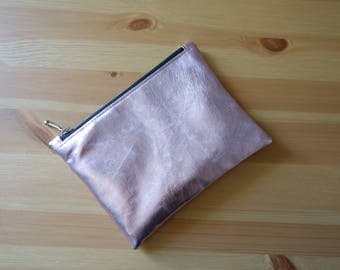 Small metallic pink leather pouch