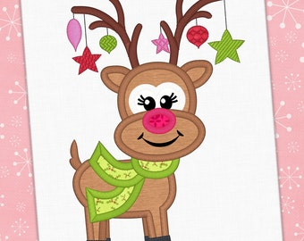 Reindeer Applique Embroidery Design Rudolph Girl Design Christmas Embroidery Reindeer Applique Embroidery Design Petunia Petals Designs 1193
